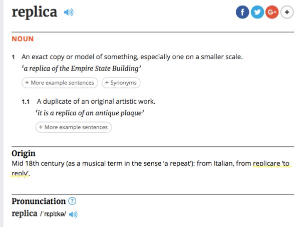 Replica Definition